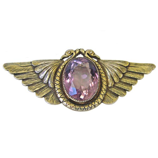 Egyptian Revival Vermeil Sterling Silver Winged Brooch |