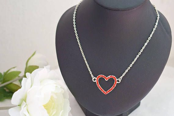 Red Heart Necklace  Rhinestone Necklace  Crystal Jewelry