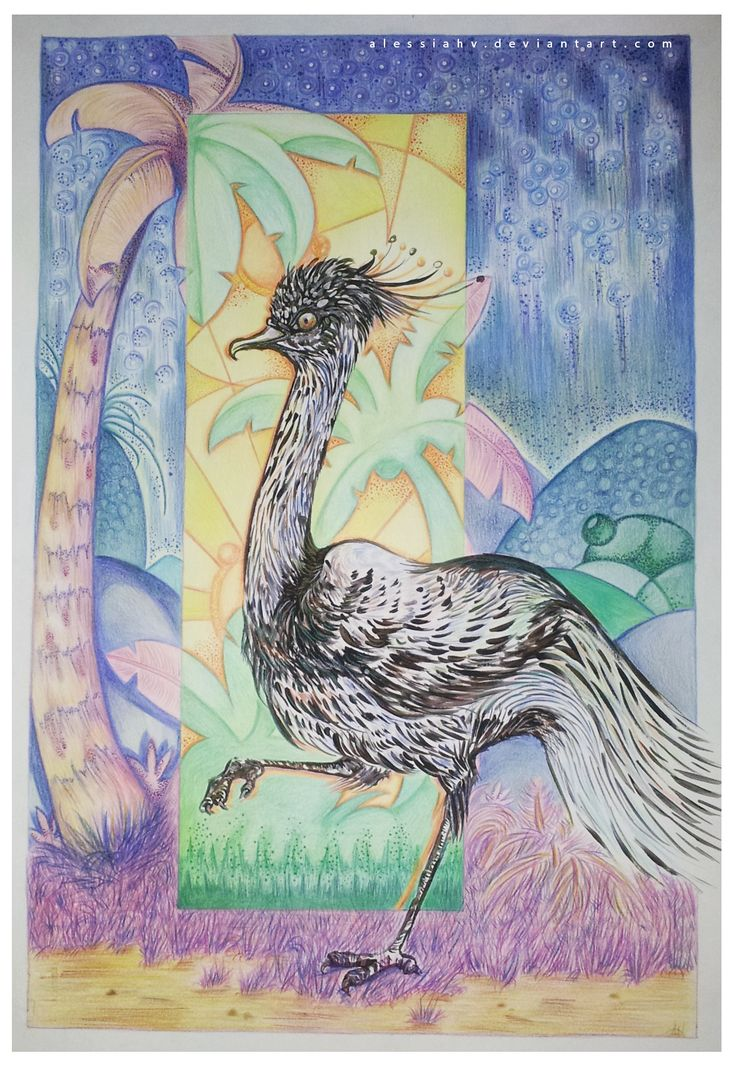 Alessia H.V., 'A bird in paradise!', crayon, acrylic and copic on paper, 2014.