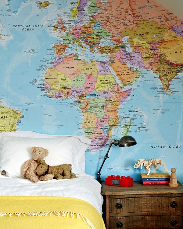 Maps add a fun touch to a room.