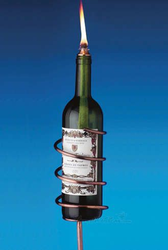 Turn Your Empty Wine Bottles into Awesome Outdoor Tiki Torches #wine #bottles trendhunter.com