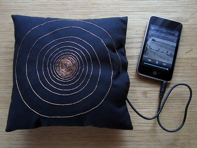 """The PROJECT EXAMPLES page at """"How to Get What You Want"""" -- Here: Make a pillow into a speaker using Embroidery with conductive thread. You want a motion-capture suit for your action figures? A granny-square afghan that's a midi keyboard?  A sock that gives foot massages? Start here, kids!"""