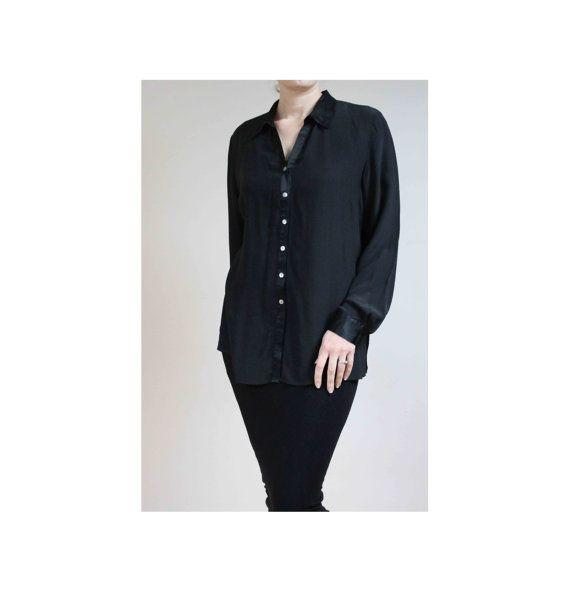 Black silk shirt black silk blouse black satin by BebopBoutiqueuk
