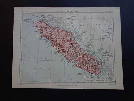 VANCOUVER ISLAND map  1888 original old by DecorativePrints