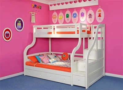 Luxury Solid Wood White Triple Bunk Bed With Storage Stairs And Drawers