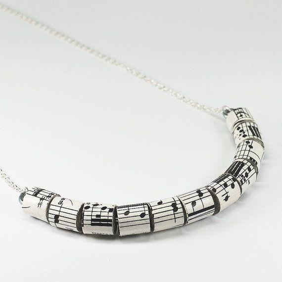 Sheet Music collana - carta della perla gioielli, Vintage Spartiti carta Bead Necklace, musica gioielli, amante della musica regalo, gioielli di carta