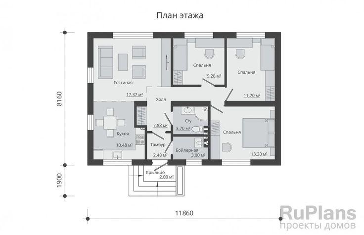 Одноэтажный дом с размерами здания 11,86 x 8,16 м. Фундамент - ленточный монолитный ж/б. Наружные стены - пароизоляция, газобетонный блок, пенополистирол, фасадная штукатурка. Внутренние стены - газобетонный блок. Перегородки - газобетонный блок. Пол этажа - пол по грунту. Перекрытие чердачное - деревянные балки перекрытия. Крыша - двускатная. Кровля - металлочерепица. Окна - металлопластиковые.