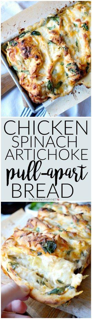 chicken spinach artichoke pull-apart bread | The Baking Fairy
