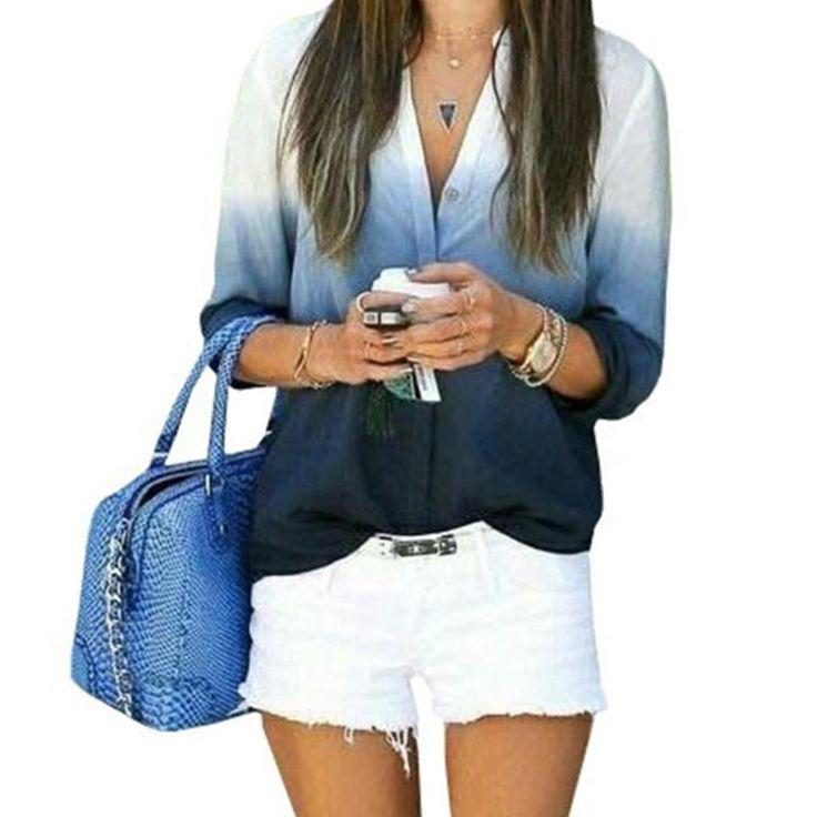 2016 mujeres de moda Blusas Casual ocio Sexy cuello en V Blusas Ladies Color degradado suelto camisas Tops Plus tamaño S-3XL