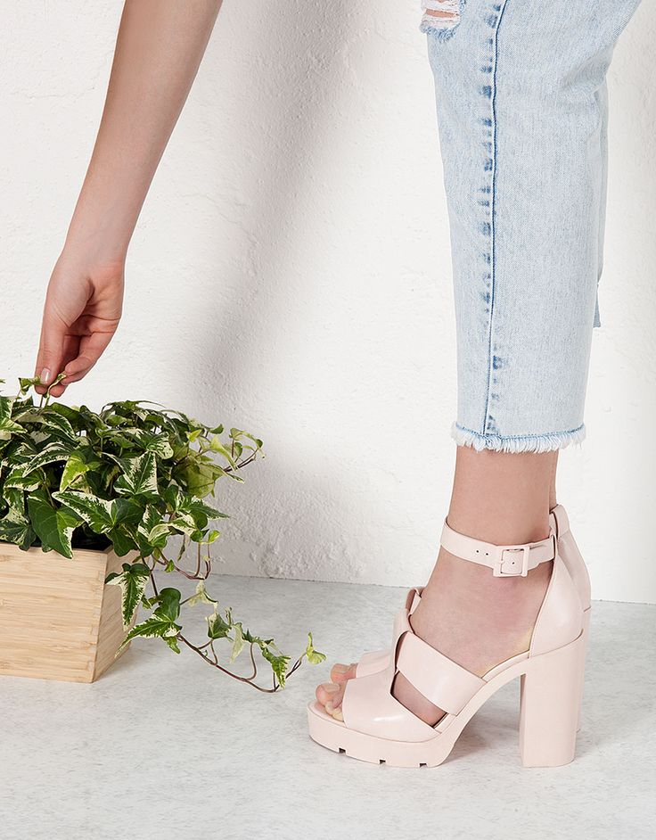 Bershka track sandals with heels