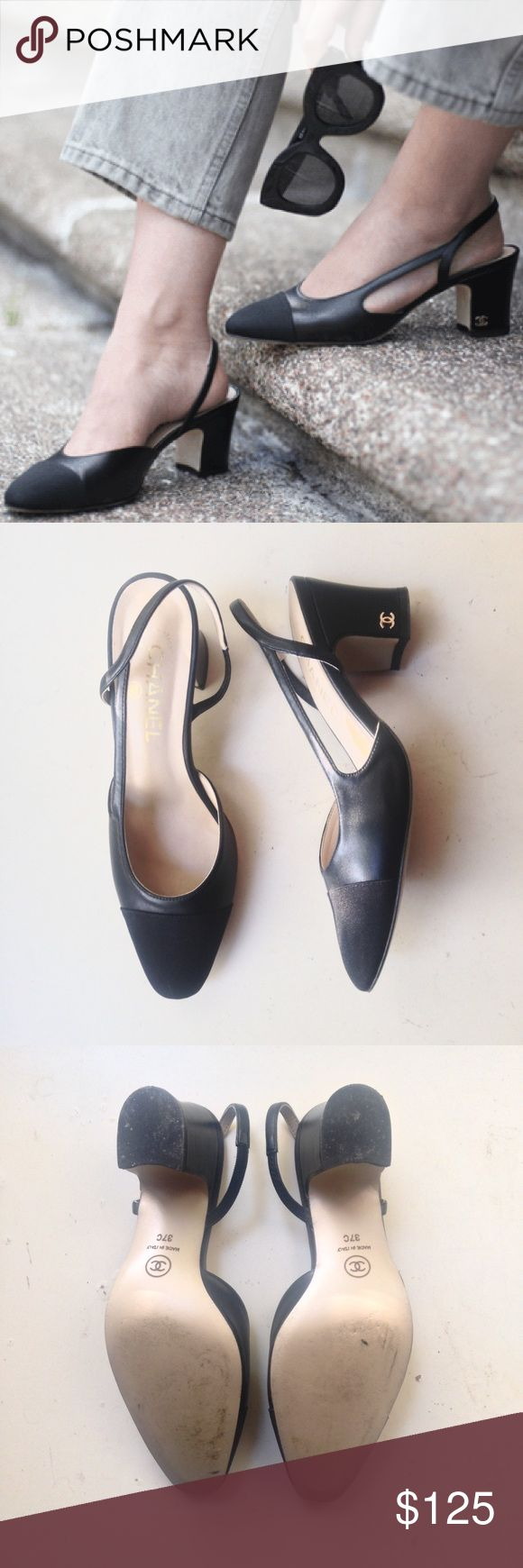 CHANEL CC Logo 2016 Two Tone Slingbacks Black 7 37 Price firm. CHANEL CC Logo 2016 Two Tone Slingbacks Black 7 37   Worn twice. This listing includes shoes and box only. #CHANEL #chanelslingbacks #instadaily #instagramfamous #instagram #coco #cocochanel #cute #cool #cclogo #luxury #lookbook #leather #love #famous #celebrity #losangeles #newyork #london #paris CHANEL Shoes Heels
