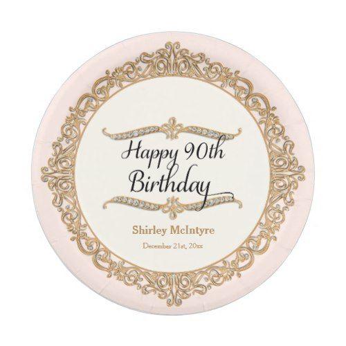 90th Happy Birthday Party Celebration Round Decor Paper Plate