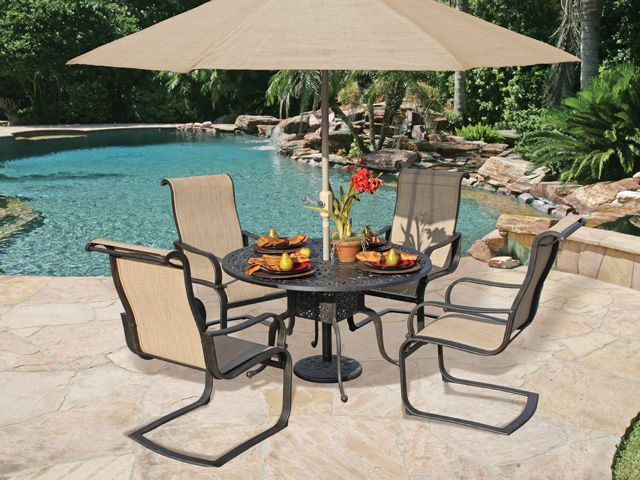 Attractive Royal Terrace Savoy Sling 5 Pc. Spring Dining Set Ya Gotta Love That Spring  Motion