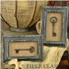 Shadow Boxes with Keys - Set/ 2.  Distressed black frame adds a sense of antiquity to these brass-colored keys displayed on burlap. Hanger is included for displaying vertically, but these could also be displayed either direction on an easel. 9 high x 6 wide. #vintage #farmhouse #decor