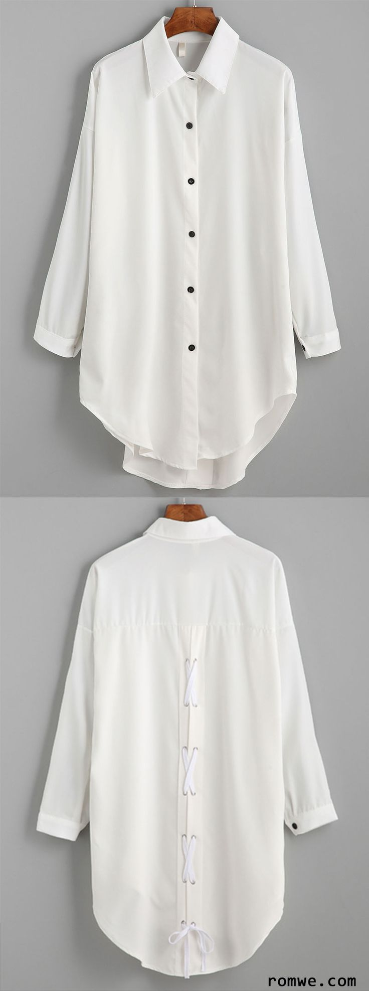 White Drop Shoulder Lace Up Back Dip Hem Shirt with special design and timeless colorway from romwe.com