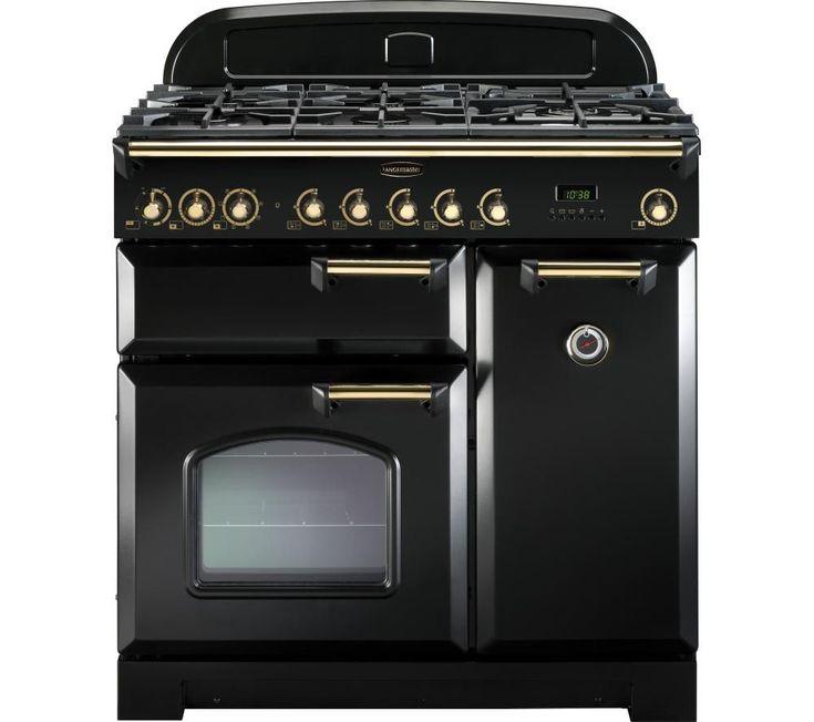 RANGEMASTER Classic Deluxe 90 Dual Fuel Range Cooker - Black & Brass