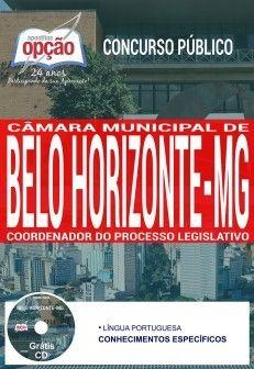 Nova -  Apostila Concurso Câmara de Belo Horizonte 2017 - COORDENADOR DO PROCESSO LEGISLATIVO  #concursos