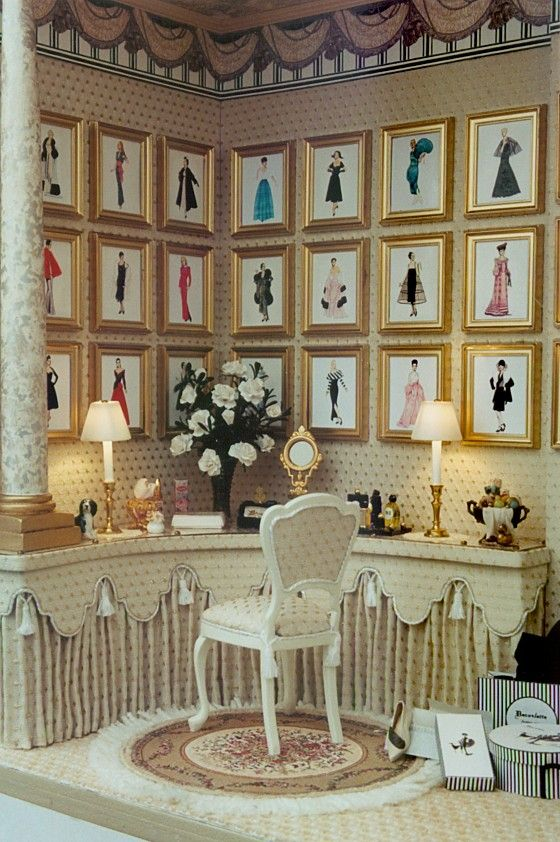 Fashion Plates dressing room. Nice idea to try in a room or vignette and adaptable to any theme.