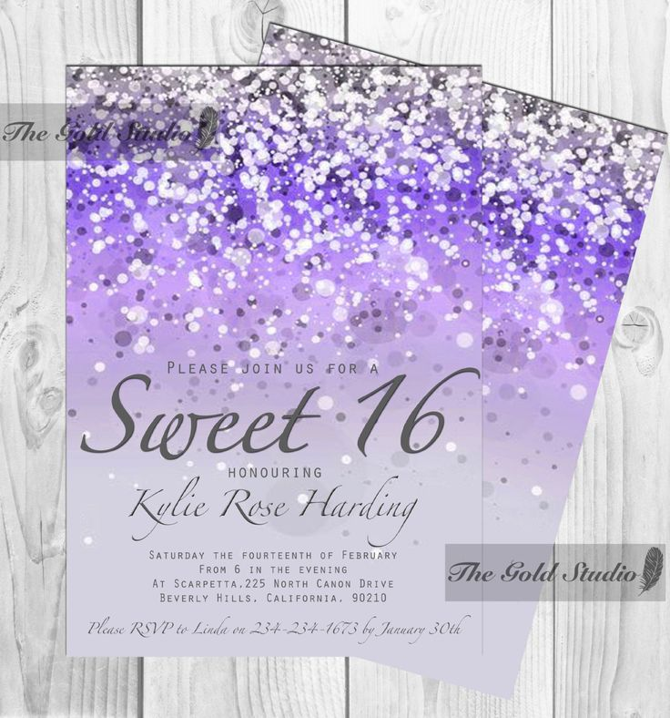 Customizable Purple Glitter Ombre Sweet sixteen 16 printable digital file, printing also available, glamorous modern birthday party JPEG PDF by TheGoldStudio on Etsy