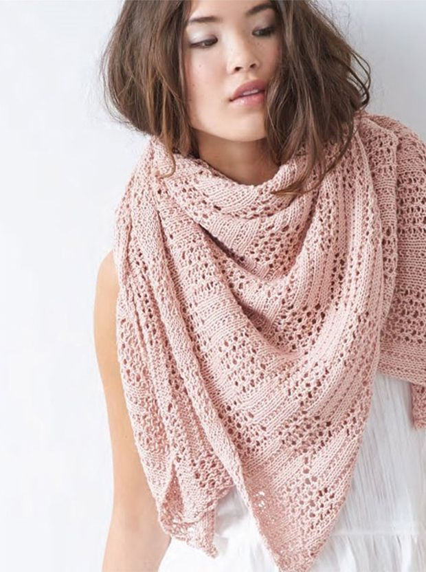 Berroco patterns: Roberts Shawl in a cotton / cashmere mix, download on LoveKnitting