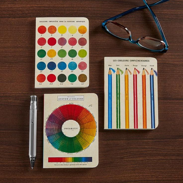 Color Wheel Mini Notebooks (set of 3) •   Vintage styled mini notebooks with lined, graph, and blank paper! Set of 3 notebooks, featuring a vintage reproduction of the Systems of Colors color wheel. One notebook has lined paper, another has graph-formatted paper, and the last is blank.  • Shop www.Levenger.com • #Notebooks #Stationary #Vintage #Colorpalette #Colors