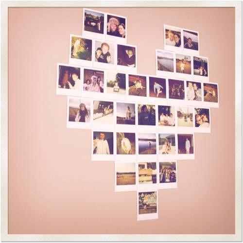 heart shape Photo displayDecor, Cute Ideas, Heart Shape, Photos Collage, Photos Wall, Photos Display, Diy, Polaroid Heart, Crafts
