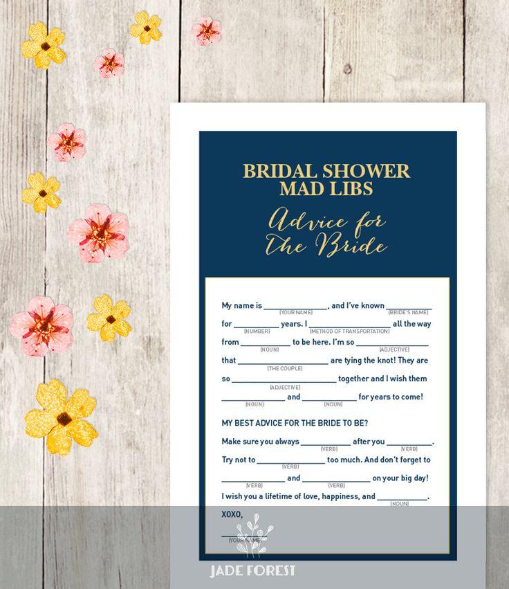 Elegant Bridal Shower Game DIY / Gold Calligraphy, Navy / Mad Libs Printable PDF / Advice for the Bride / Wedding Shower ▷ Instant Download by JadeForestDesign on Etsy https://www.etsy.com/listing/233536483/elegant-bridal-shower-game-diy-gold