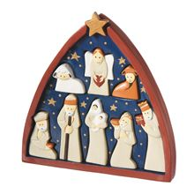 Puzzle your way through this alstonia wood nativity. COmplete with eight hand painted pieces, this nativity set is heirloom quality! #handmadenativity #handcarvednativity #handpaintednativity