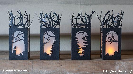 Черные бумажные фонарики к празднованию Хэллоуина (4) (560x312, 149Kb)