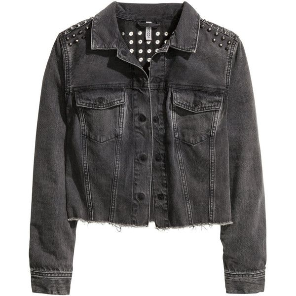 H&M Denim jacket with studs (2050 TWD) ❤ liked on Polyvore featuring outerwear, jackets, tops, black, h&m jackets, denim jacket, h&m, studded jean jacket and black jean jacket