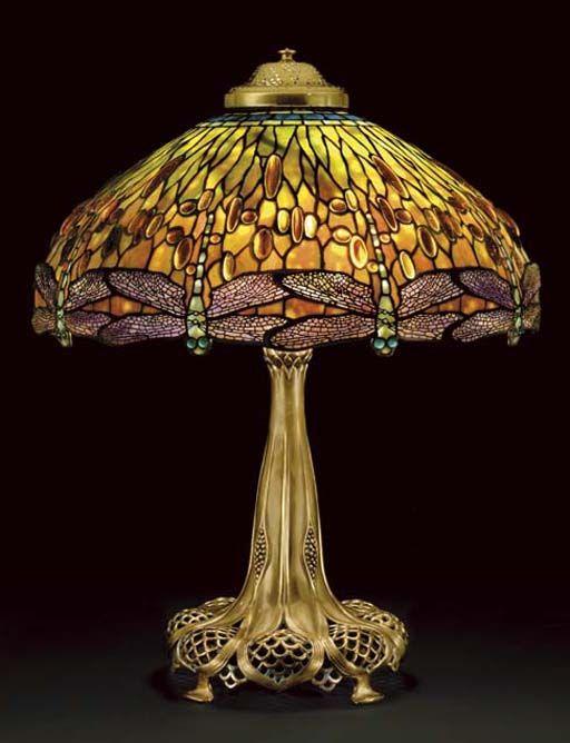 A U0027Jeweled Dragonflyu0027 Leaded Glass And Bronze Table Lamp, Circa 1910