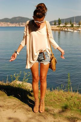Baggy shirt with shorts.
