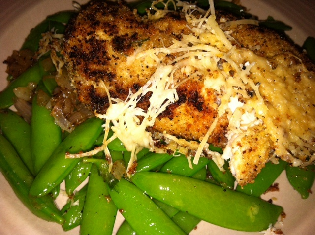 ... Batali's Chicken Thighs with Garlicky Crumbs and Snap Peas--delicious