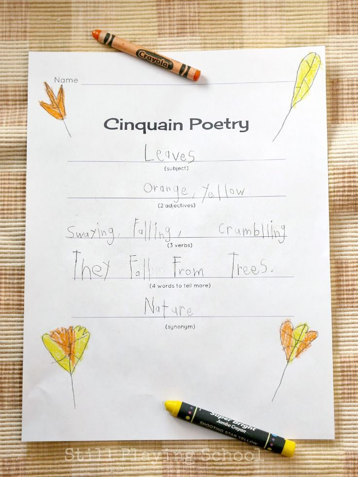 Still Playing School: Cinquain Poetry for Kids