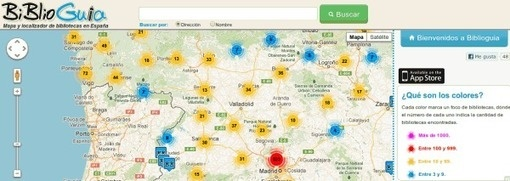 biblioguia, mapa y localizador de bibliotecas de España
