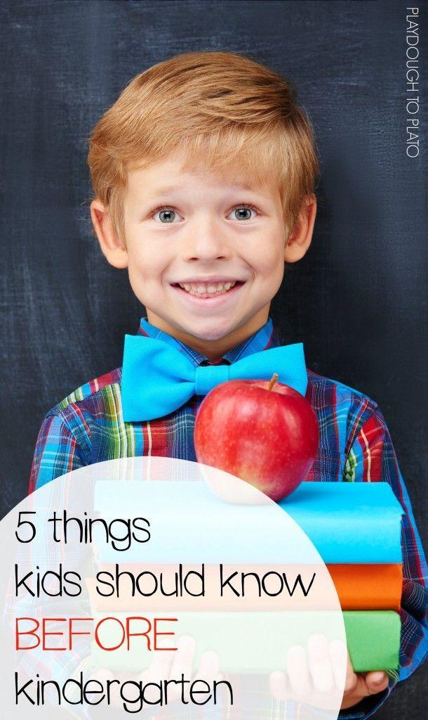 5 things kids should know before kindergarten. So helpful for soon-to-be kindergarten parents!