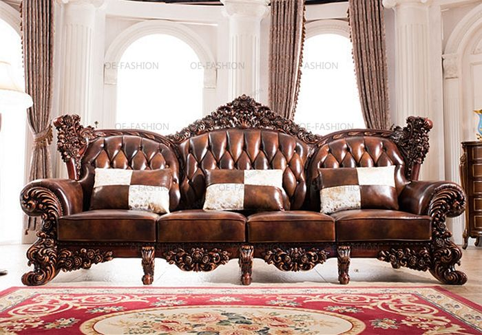 2018 Latest Design Luxury Wooden Carving Frame Leather Sofa Set View Designs Oe Fashion Product Details From Foshan Furniture