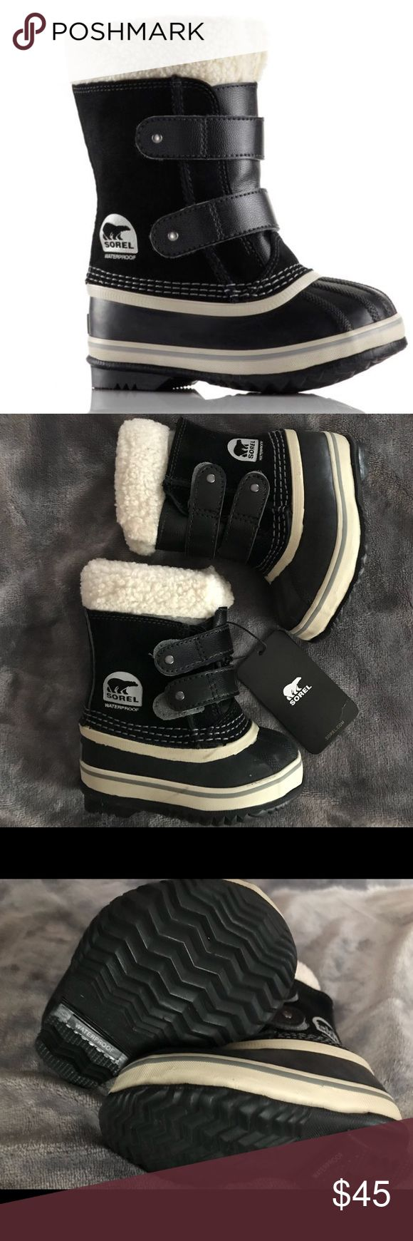 NWT Toddler Sorel Boots Sz 5 New with tags. No box. Little toddler Boys Sz 5 1964 PAC Strap Boots by Sorel. Minor scratches from moving around. Please see pics for more details. Currently retailing online for $70. Sorel Shoes Rain & Snow Boots