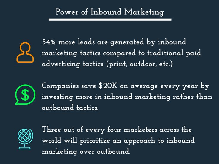 The power of Inbound Marketing. These statistics reinforce the fact that inbound campaigns are more effective than outbound tactics, such as print advertising, broadcast media, and outdoor media.