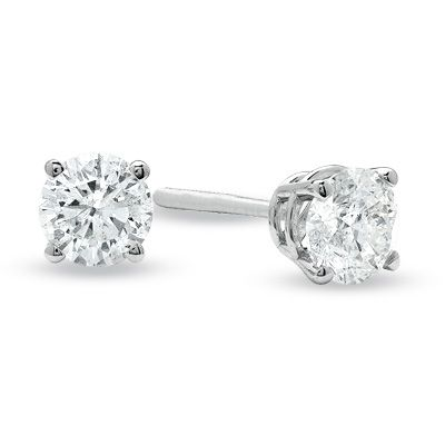 Accessories Zales 3 4 Ct Diamond Solitare Stud Earrings In 14k White Gold