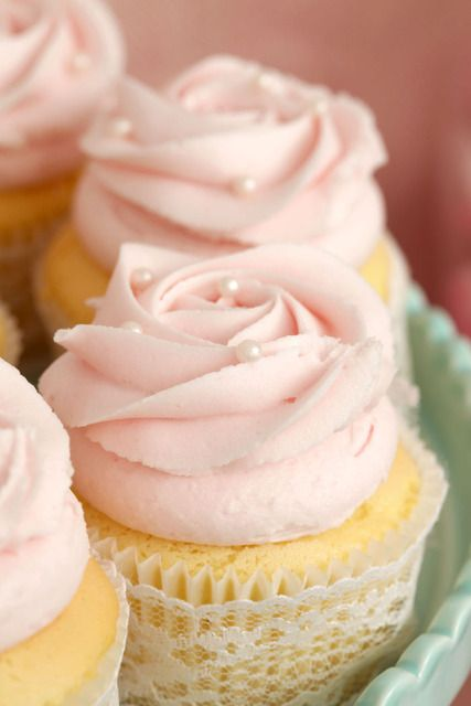 Pink Rose cupcakes with Candy Pearls on top for a Bridal Shower #bridal #cupcakes
