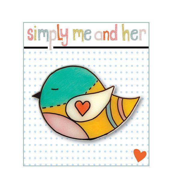 Love bird - Shrink Plastic Brooch - Bird Brooch $13  width 6cm x height 4cm