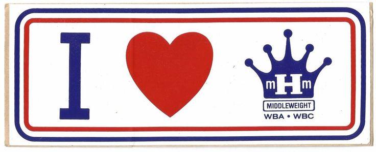 VINTAGE I LOVE MARVELOUS MARVIN HAGLER BUMPER STICKER-MIDDLEWEIGHT WBA WBC-OG