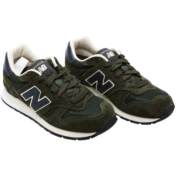 New Balance Model K300 sneakers (€41) ❤ liked on Polyvore featuring shoes, sneakers, footwear, army, retro sneakers, laced sneakers, laced up shoes, lace up shoes and retro shoes