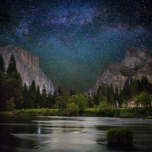Yosemite, at night. Milky way