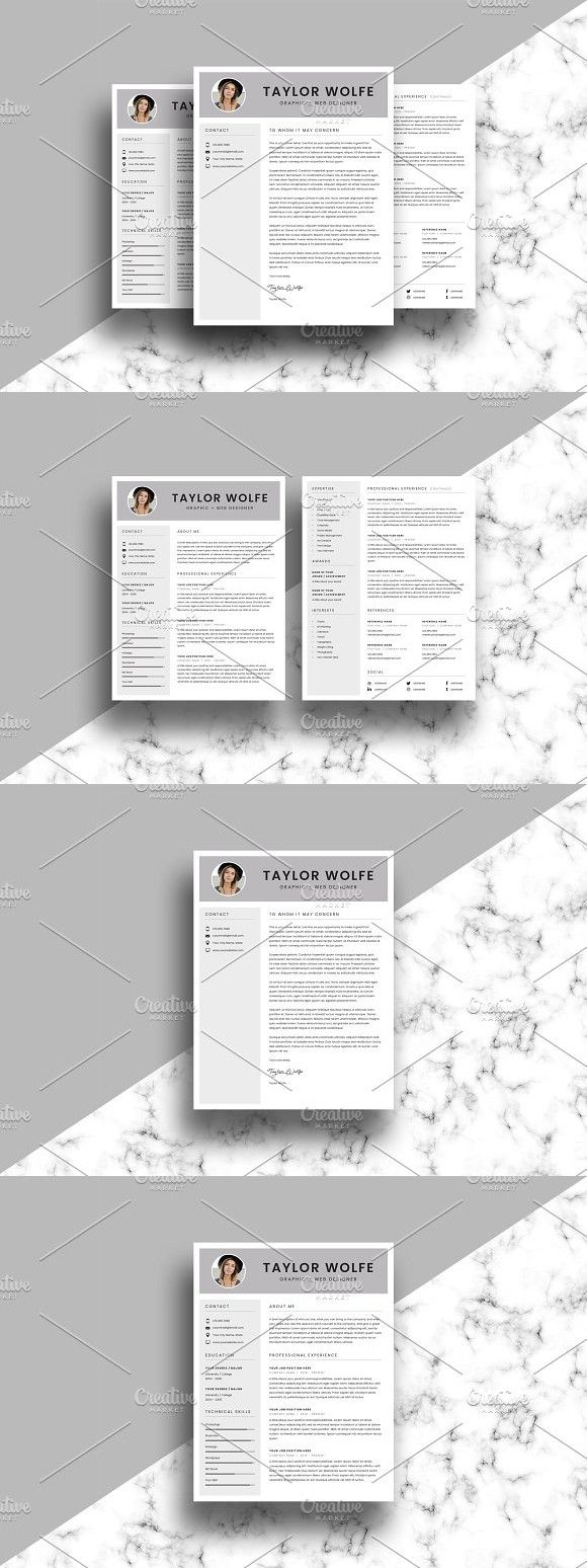 Resume/CV Template - 3 Page - Taylor #resume