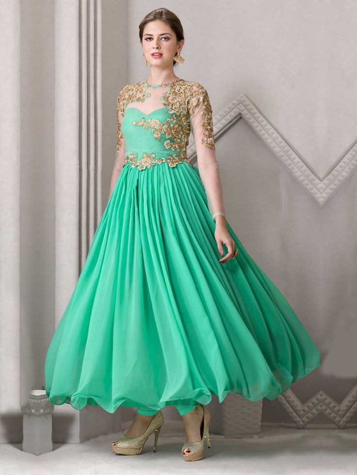 Buy Sea Green Georgette Anarkali Suit with Embroidery Work Online at Best Price for Women - SKDAA8960 - Saree.com