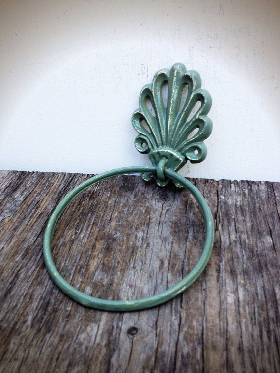BOLD sage green ornate shell bathroom towel ring // nautical beach tropical towel hanger hook // shabby chic weathered cottage rustic on Etsy, $14.00