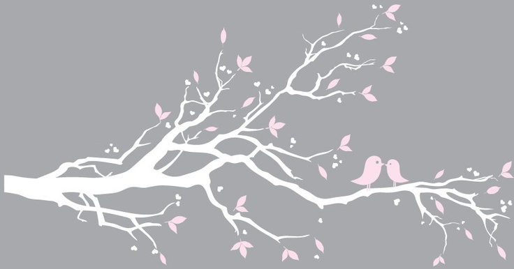 White Tree Branch Wall Decal With Sage Green Leaves Decals