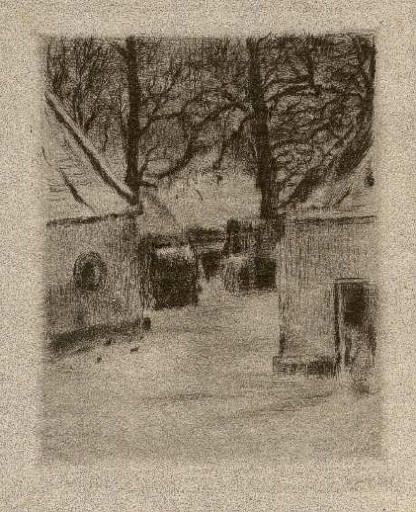 Bohuslav Reynek Dvůr v zimě I / Court in Winter suchá jehla / dry point 14,2 x 11,6 cm, 1938, opus G 122